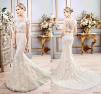 Wholesale Dresses Appiques - Vintage Lace Mermaid Wedding Dresses Two Pieces Cap Sleeves Appiques Beaded Floor Length Formal Bridal Gowns Vestidos de novia BA3929