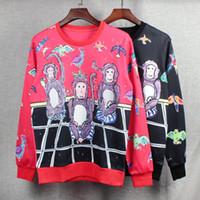 Wholesale Autumn Little Monkey - 2016 Autumn and winter women fleeve hoodies The three little cartoon monkey women's men casual sweatshirt hoody