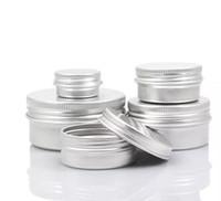 kozmetik kutuları toptan satış-Boş Alüminyum Krem Kavanoz Kalay 5 10 15 30 50 100g Kozmetik Dudak Balsamı Konteynerler Tırnak Tahriş El Sanatları Pot Şişe