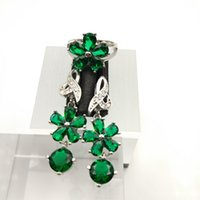 Emerald Gems Flower Style Topaz Jewelry Sets para mujeres Sterling Silver 925 Drop Earrings / Ring Sizes 7/8/9 Free Jewelry Box B