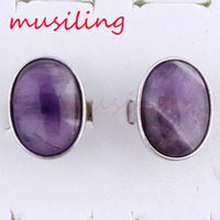 Wholesale Oval Cabochon Settings - Charms Oval Cabochon Natural Stone Adjustable Rings Amethyst Aventurine etc Accessories Silver Plated Fashion Jewelry Reiki Amulet
