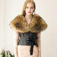 Wholesale Cropped Fur Jacket - Elegant Women Ladies Cropped Vest With Big Fur Collar Slim Black Belt Faux Leather Coat Jacket Autumn Winter Outwear S-3XL