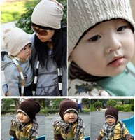 Wholesale U Double - New Twisted Style Hat Children's Double-sided Hats Child baby's caps cream red blue gray coffee caps adult and baby hats u can choose