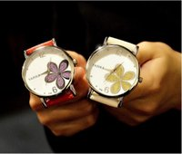 Wholesale Ladies Students Watch - Unisex lovers leather flower watch fashion women mens ladies casual dress quartz wrist simple design students sequins watches