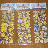 Wholesale Animal Sticker Books - 2016 Poke Pikachu 3D Sticker Cute Cartoon Party Decorative Book Stikers Wallpaper Gift For Kids 6.75*16.9cm Free DHL L1