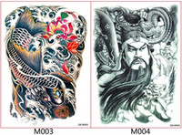Wholesale Chinese Body Tattoos - Body art tattoos full back traditional Chinese hero waterproof tattoos temporary tattoos water transfer tattoos