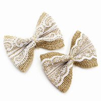 Wholesale Party Hats Suppliers - Natural Jute Burlap Hessian Bowknot Bows Hat Accessories Craft Rustic Wedding Decoration Supplier Craft Decor Hot