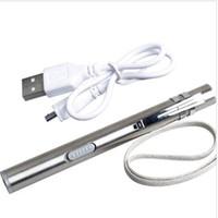 kugelschreiber taschenlampe medizinisch großhandel-Medizinische handliche tragbare Stift Licht USB wiederaufladbare Mini-Energiesparlampe LED Taschenlampe mit Edelstahl-Clip