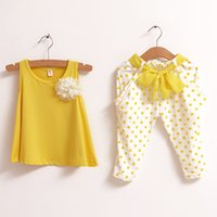 Wholesale Girls Necklace Outfits - Retail NEW Kids Girls Sets Rose Flower Top Shirt + Bloomer Short Pants + Pearl Necklace Outfits