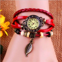 Wholesale Vintage Friends Watch - Vintage Women Watch Fashion Weave Wrap Leather Bracelet Bangle Tree Leaf Quartz Watches Christmas Gift Wristwatch For Friend Lover