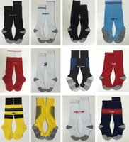 Wholesale Pink Knee High Socks - 2017 2018 Kid's Soccer Socks Real Madrid Knee High Stocking AC Milan Thicken Towel Bottom Long Hoses Inter sports socks football stocking