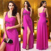 Wholesale Orange Chiffon Gown - wholesale hot Side Split Evening Dresses One Shoulder Crystal Beaded Chiffon Long Formal Prom Celebrity Gowns Plus Size New