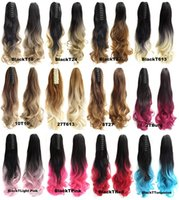 Wholesale Trade Hair Clips - Foreign trade new horsetail Color gradient curly hair claw clip horse-hair claw clip horsetail 55 cm long inferior smooth