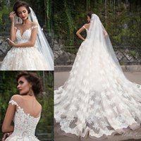 Wholesale lace off shoulder neckline online - Full Lace Wedding Dresses Sexy Illusion Plunging Neckline Cap Sleeves Backless Appliqued A Line Bridal Gowns Sweep Train