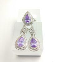 Wholesale Light Green Jade Jewelry - Water Drop light purple 925 Sterling Silver Women Jewelry Sets White Topaz Surrounded Earrings Rings Free Box
