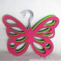Wholesale Wholesale Plastic Clip Hangers - New Butterfly Hanger Creative Flocking Plastic Multi Function Clothes Silk Scarf Storage Rack A Variety Of Colors 3 8db J R