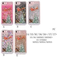 Para iphone 8 7 Fashion Christmas Trees 3D Dynamic Glitter Stars Liquid Quicksand Hard Phone Back Case Cover para 5 SE 6 Plus DHL SCA337