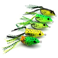 Wholesale bait topwater - 6cm g Topwater Frog Hollow Body Soft Fishing Lures Crankbait Bass Hooks Baits Tackle Set