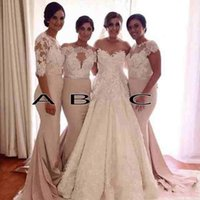Wholesale Silk Dresses For Prom - Off The Shoulder Bridesmaid Dresses 2016 Sexy Mixed Styles Lace Dresses For Maid of Honor Custom Made Evening Gowns Long Prom Dresses BA2970