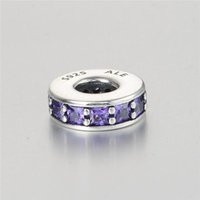 Wholesale Sterling Spacer Beads - 5 pieces lot spacer purple charms 925 sterling silver logo fits for pandora style charms bracelets free shipping aleLW617D