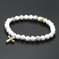 Wholesale 18k White Gold 6mm Chain - Easter Wholesale 10pcs lot 6mm Natural White Howlite Marble Stone Beads with Micro Paved Clear Zircons Spacer Cz Beads Cross Bracelets