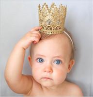 Wholesale Newborn Girls Tiara - Newborn Baby headbands Crown Bands Kids Elastic Head Bands Tiara girls Kids Children Hair Accessories Princess Headdress headwear KHA45