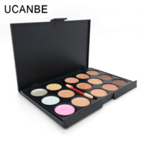 Wholesale Cheap Professional Brushes - oisturizing Waterproof Highlighter for Face Professional 15 Concealer Camouflage Foundation Makeup Concealer Palette with Brush Cheap hi...