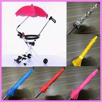 Wholesale Baby Tricycles - Universal Anti UV Baby Stroller Sunshade Umbrella 3 Wheel Tricycle Baby Carriage Rain Cover Sunshade Umbrella Holder