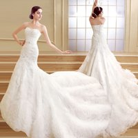 Wholesale up skirt photos - ZCL04 Gorgeous Long Mermaid Wedding Dresses 2017 Sweetheart Fashion Lace Ruched Tiered Skirts Chapel Train Bridal Gown Real Photos