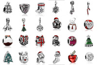 Wholesale Pink Big Hole - Wholesale 24pcs Christmas Gift Pendants Charms Bead Silver Charms Pendant Big Hole Beads Fit European Charm Pandora Bracelet Jewelry DIY