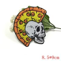 Wholesale punk patch clothing - Skull Mohawk Punk Rock Pizza Biker Embroidered Applique Iron on Patch for clothing