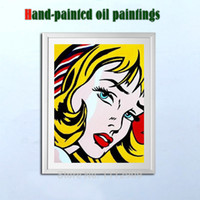 Wholesale Girl Pop Art - Famous Handmade Modern Girl oil paintings on canvas Pop wall Art pictures for living room tableau peinture sur toile