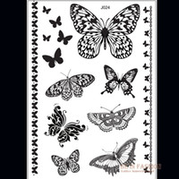 Wholesale Temporary Black Butterfly Tattoos - Wholesale- 1piece Indian Arabic Black white butterfly tattoos lace flash tribal fake henna tattoo paste temporary tatoo sticker hand J024B