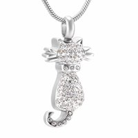 Zircon Cremation Urn Pendentif Collier Pet Urns And Keepsakes Femme Crystal Pet Animal Urs de chien Funeral Casket Jewelry Cheap Sale