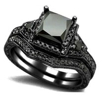 Wholesale Statement Diamond Ring - Size 5-11 Black Princess Cut Crystal Wedding Engagement Ring Band Set Bridal Halo Statement Propose Cocktail Promise anniversary