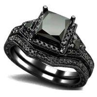 Wholesale Diamond Halo Wedding Ring - Size 5-11 Black Princess Cut Crystal Wedding Engagement Ring Band Set Bridal Halo Statement Propose Cocktail Promise anniversary