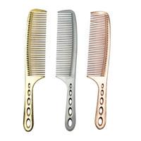 cabelo penteado liso venda por atacado-Superfície lisa Tatinium Metal Cabeleireiro Pente, Durável Pente De Corte De Cabelo Com Alça Longa, Feitas À Mão Pente De Corte De Cabelo Para Homens