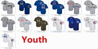 Wholesale Cubs Logos - Youth Kids Child Cubs 44 Anthony Rizzo Baseball Jersey White Blue Gray Grey Gold Memorial Day Gold Tem Logo Green Salute To Service