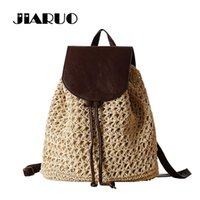 Wholesale holiday backpacks - JIARUO Summer Drawstring Straw Bag Hollow Out School Bag Knitting Backpacks Beautiful Beach Bag Bagpack for Travel Holiday
