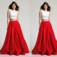 Wholesale Bridemaid Organza Dresses - Two Pieces Long Satin Bridemaid Dress Formal Evening Party Prom Dress Size 6 8 +