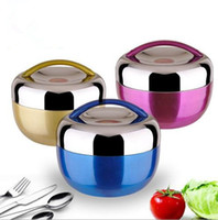 Wholesale Round Rice - Stainless Steel Bowl 1000ML Student Apple Lunch Box 304 Insulated Lunch Box Non-magnetic Stainless Steel Rice Bowl 5 Colors OOA2405