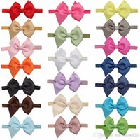 Wholesale Elastic Headbands Fancy - 20 Pcs lot Fancy Baby Kids Headbands European Style Bowknot Elastic Girls' Hairband Baby Cute Hair Accessories
