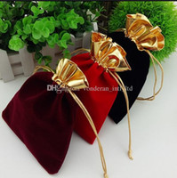 Wholesale Chinese Color Bags - Velvet Drawstring Pouches Bags gold side flannel bags Gift bag Flocked jewelry pouch Favor Holders velvet drawstring bag multi color