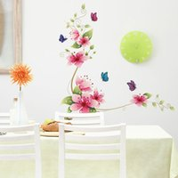 Dekor Fliesen Aufkleber Bad Kaufen -Abnehmbarer PVC-Badezimmer-Wand Poster Aufkleber-Blumen-Schmetterlings-Dekor für Badezimmer-Fliesen Schlafzimmer Home Decor Wandabziehbilder Home Decor bestellen $ 18NO