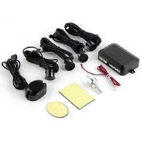 indicador preto venda por atacado-DC12V LEVOU BIBIBI Sensor de Estacionamento 4 Sensores Monitor de Auto Reverso Do Sistema de Detector de Radar De Backup Kit Som Alerta Indicador de Alarme Livre DHL
