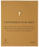 Wholesale Mini Heart Necklaces - Wholesale- Hot sale New Golden vintage lovely key necklace pendent Confidence is mini yellow gold Key heart necklace for women jewelry