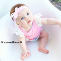 Wholesale Children Vest Fashion - Cute Children Clothing INS Summer Girls Lace Cotton T-shirt Kids Tops Newborn Infant Baby Girl Vest Boutique Baby Clothes Fashion 6 Colors