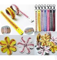 Wholesale Black Hair Flower Clip - Wholesale Handmade Leather Sport Baseball Softball hair Flower Clip and baseball softball bracelet +Keychain for men women big children 20p