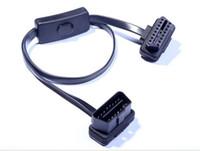 adaptador nissan obdii al por mayor-50 unids 60 CM 16 pin a 16Pin Flat Thin ELM327 Auto Car OBDII OBD OBD2 Cable de Extensión Con Conector Adaptador de Interruptor