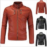 jaquetas de couro sexy venda por atacado-4XL Plus Size Premium Mens Jaqueta de Moto Casaco Curto Slim Top Projetado Sexy PU Casaco De Couro Fit Jaquetas Lavadas J160811